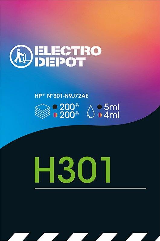 Cartouche d'encre compatible HP ELECTRO DÉPÔT H301 pack noir + 3 couleurs (photo)