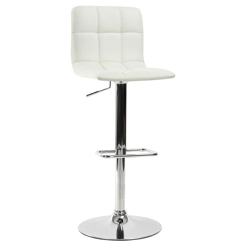 Tabouret de bar blanc assise et dossier (photo)