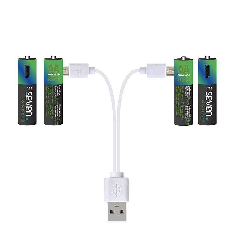 Piles AA 1000mAh rechargeables par câble micro USB SEVENLIFE x4 (photo)