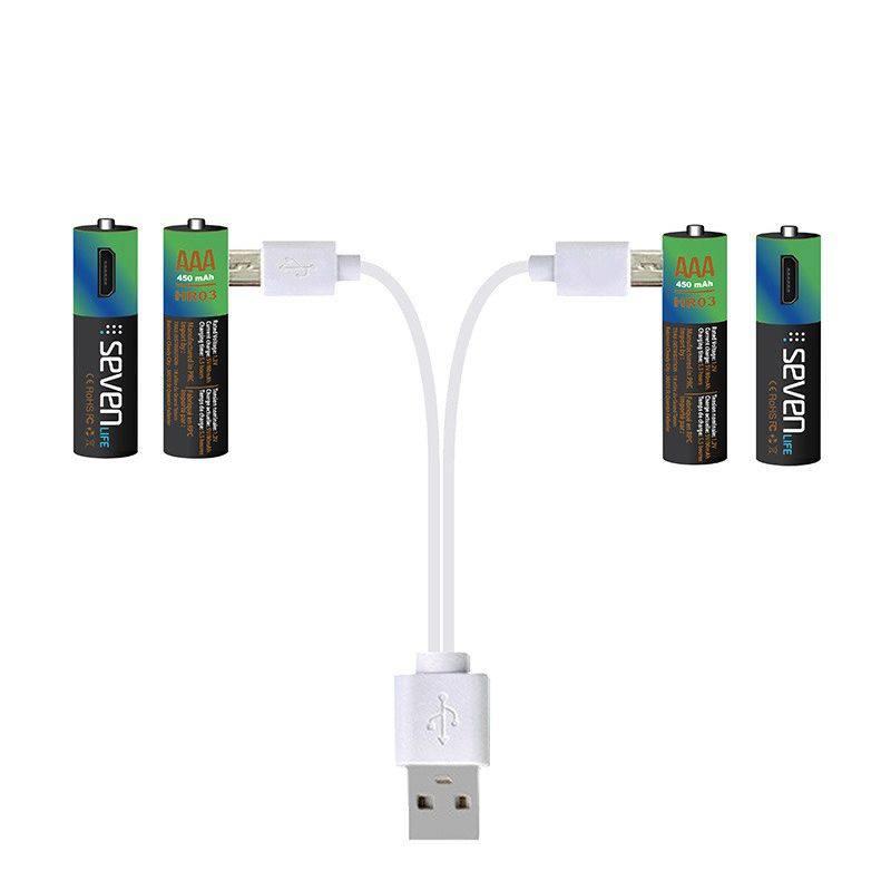 Piles AAA 450mAh rechargeables par câble micro USB SEVENLIFE x4 (photo)