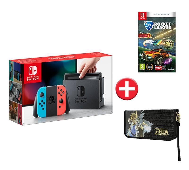Console de jeux NINTENDO Switch + Joy Con rouge et bleu + Rocket League + housse ZELDA (photo)