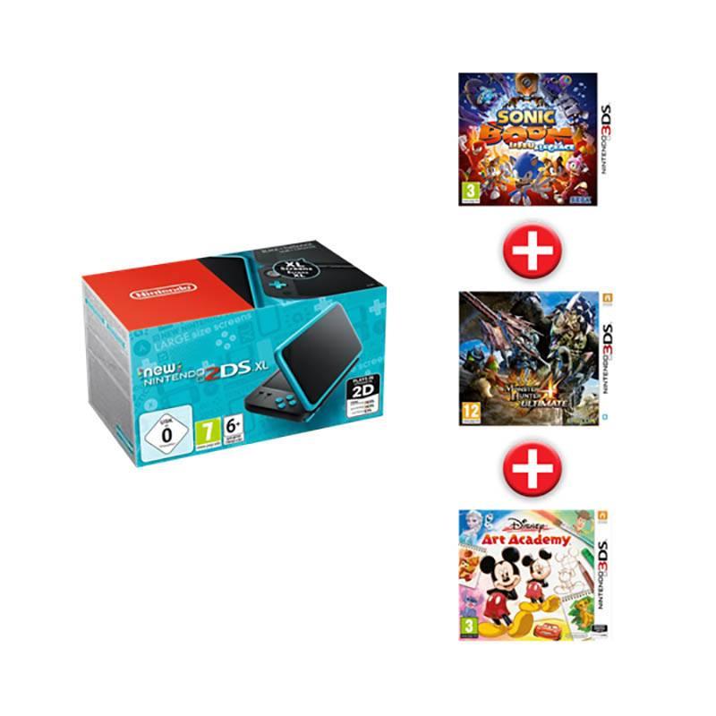 Console de jeux NINTENDO 2DSXL new noir et turquoise + Sonic Boom Le feu et la glace + Monster Hunter 4 Ultimate + Disney Art Academy (photo)