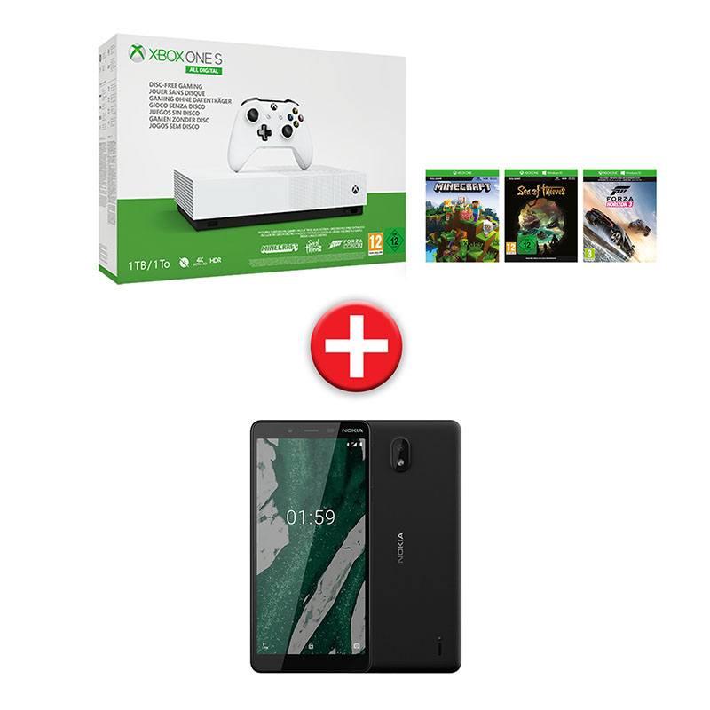 Console de jeux XBOX One S 1TO All digital + Tel NOKIA1 Plus + 3 jeux dematerialises (photo)