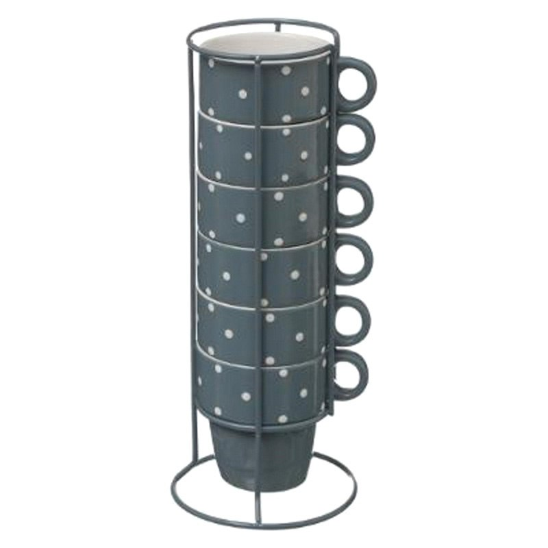 Mugs sur rack x6 pois bleus (photo)