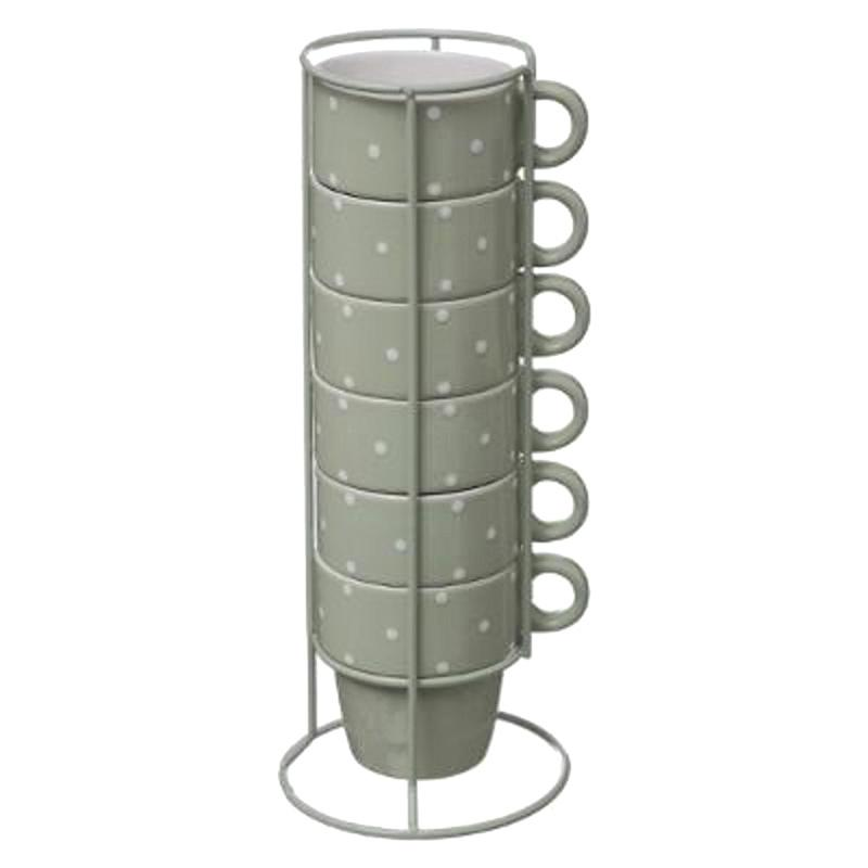 Mugs sur rack x6 pois verts (photo)