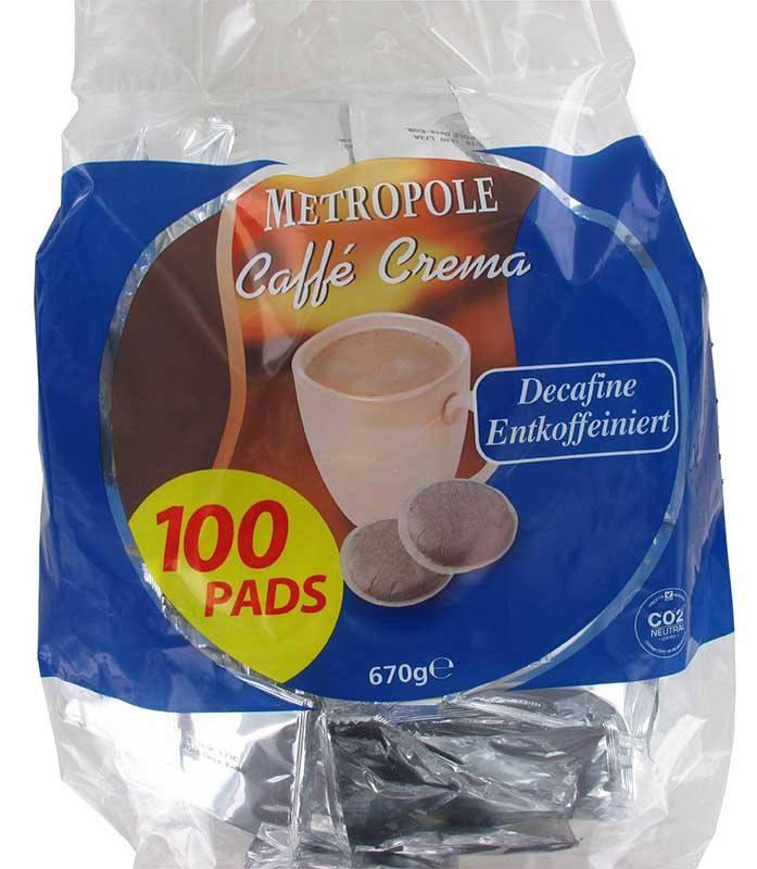 Dosettes de cafe METROPOLE Decafeine x100 (photo)