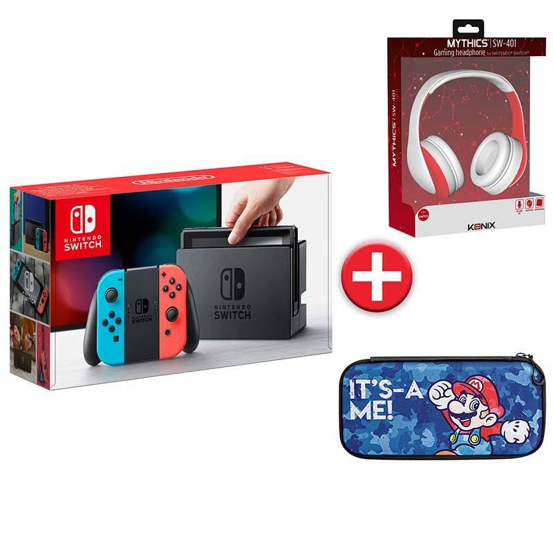 Console Jeux NINTENDO Switch + Casque + sacoche Mario (photo)