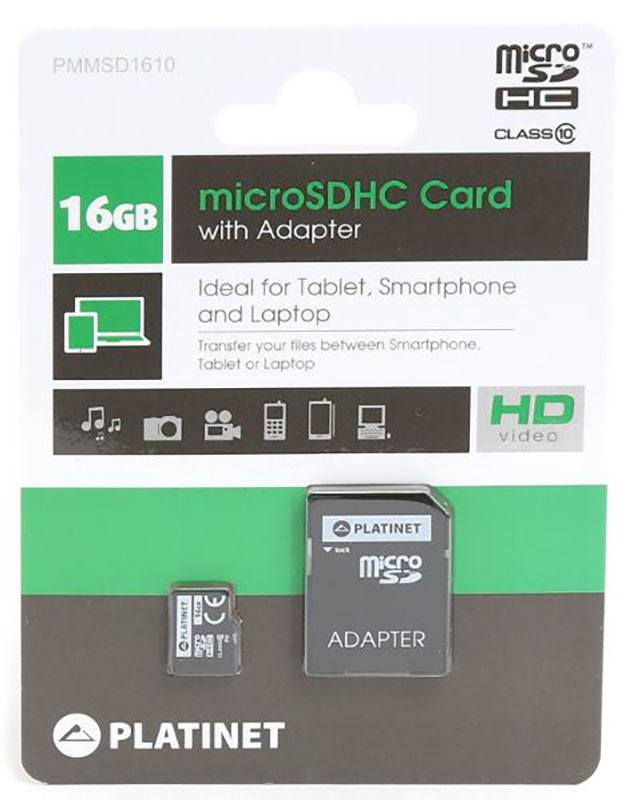 Carte Micro SD PLATINET 16 Go + adaptateur (photo)