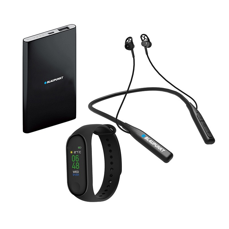 Pack Bracelet connecte BLAUPUNKT + Batterie de secours 4000 mAh + Ecouteurs bluetooth sport (photo)