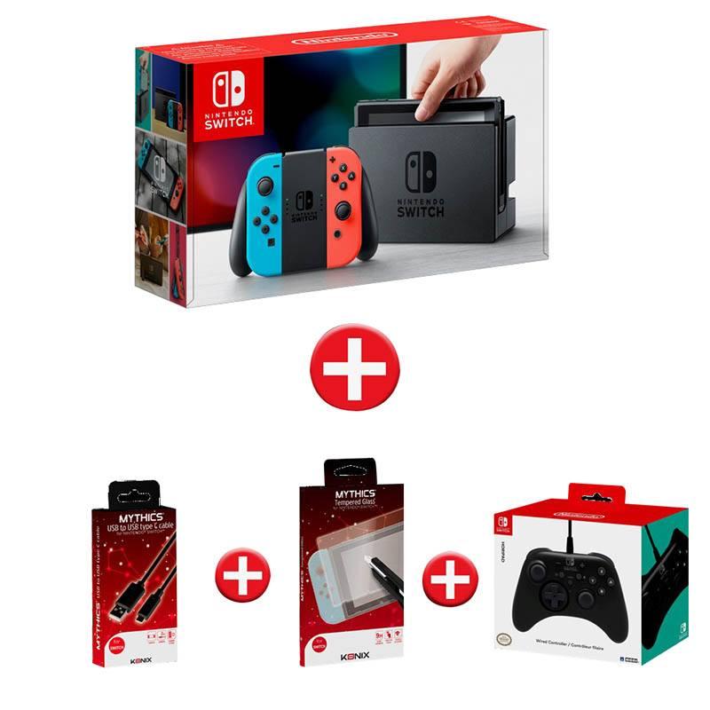Pack console de jeux NINTENDO SWITCH + Manette Hori + Cordon USB + Verre trempe (photo)