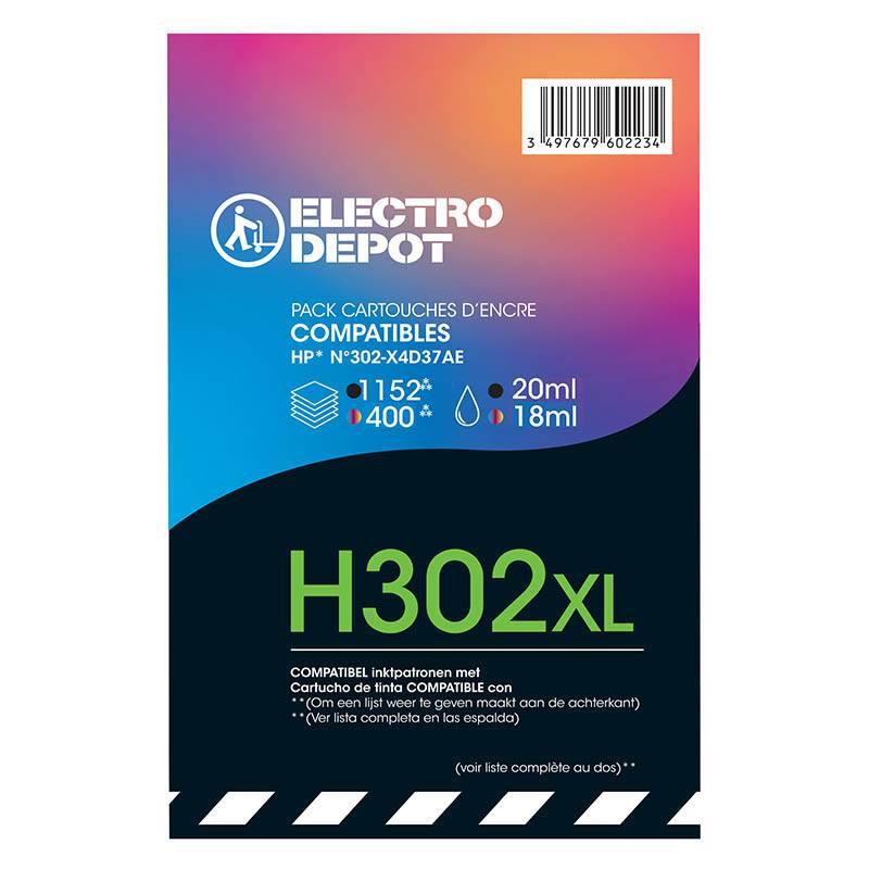 Cartouche Compatible ELECTRO DÉPÔT NOIR + COULEUR H302XL (photo)