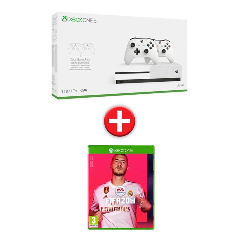 console de jeux MICROSOFT XBOX ONE S 1 TO FIFA20 + 2 Manettes (photo)