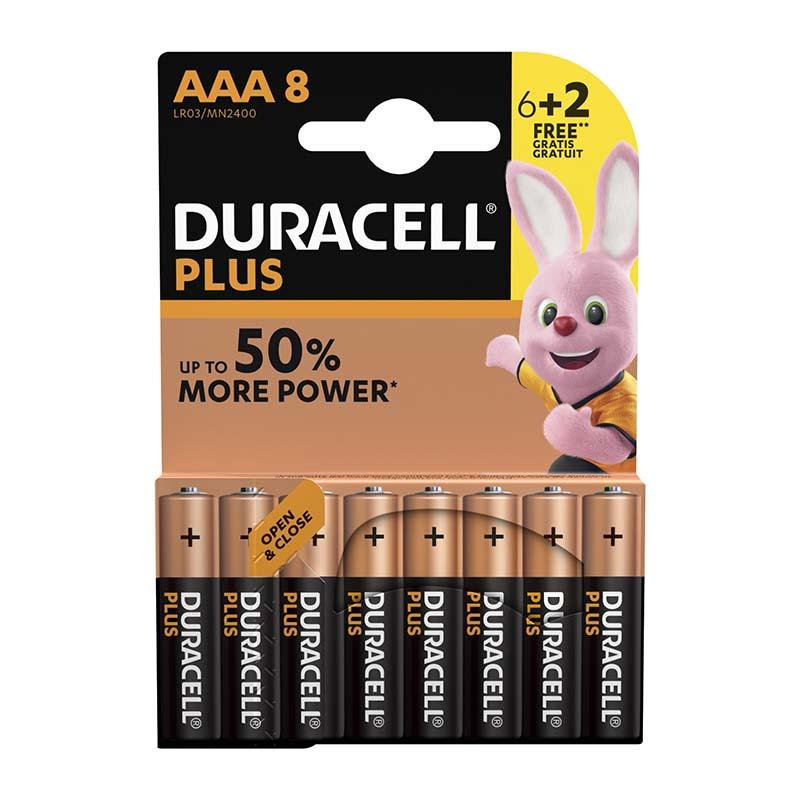 Piles DURACELL 6+2 power plus AAA - LR03 (photo)