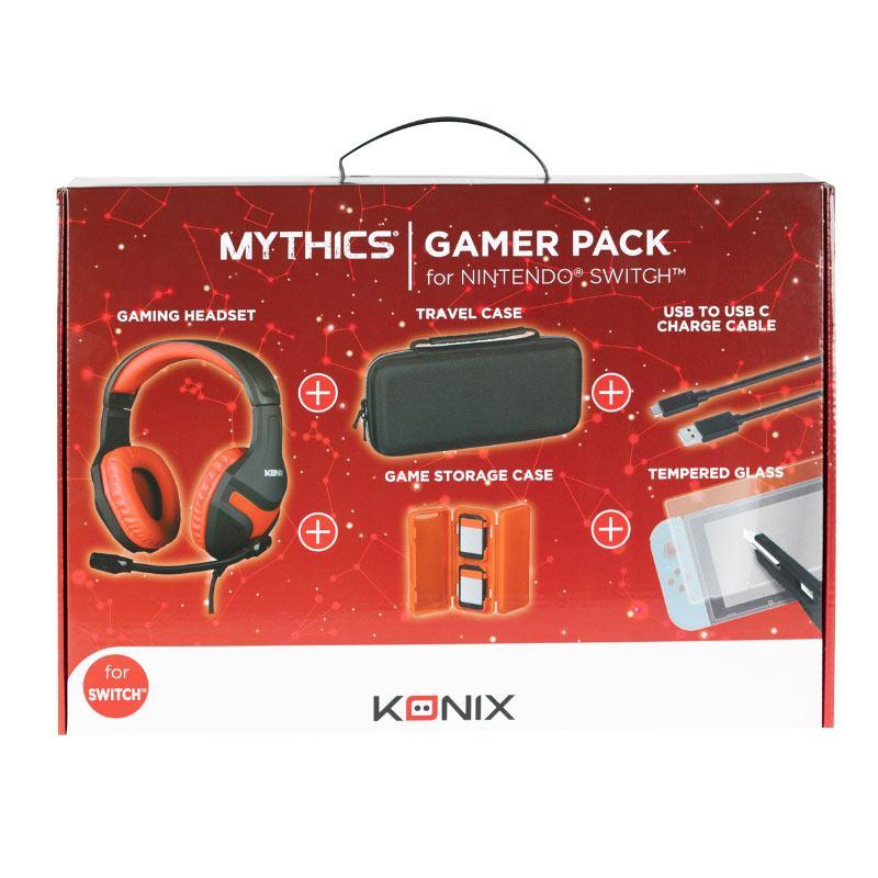 Pack Accessoires 5 En 1 Konix Nintendo Switch (casque, Sacoche, Boitier, Câble, Verre Trempé)