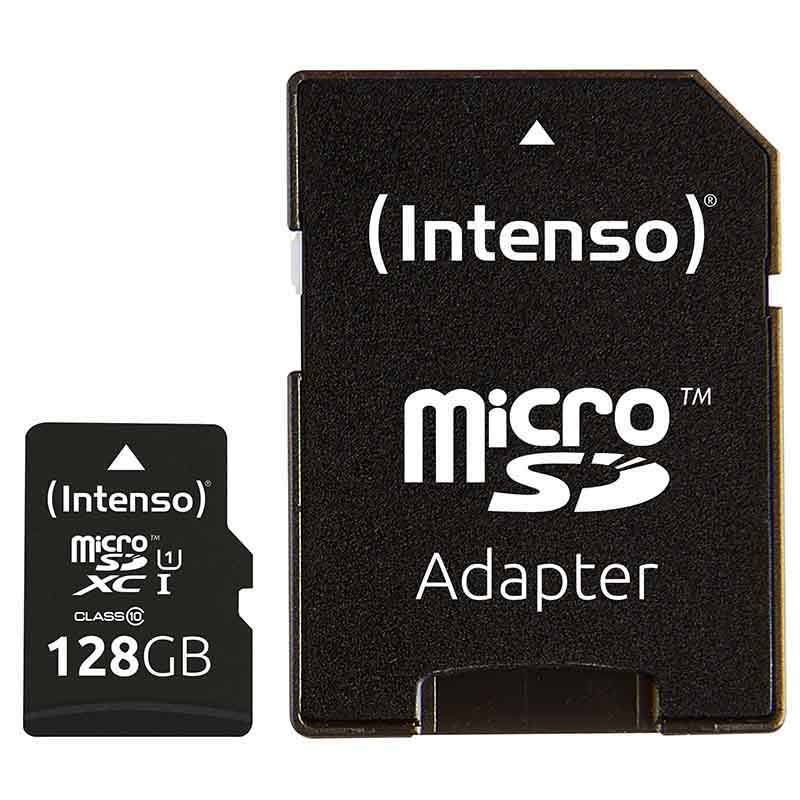 Carte Micro-SD intenso 128Go UHS-I + adaptateur (photo)