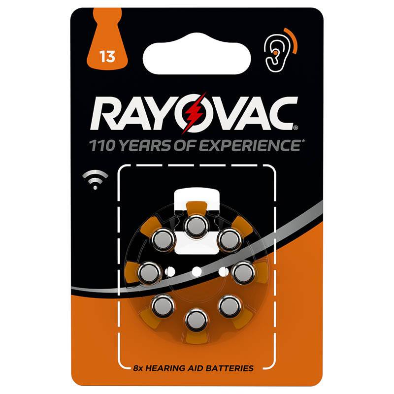 Pile RAYOVAC A13 x 8 : pour aide auditive (photo)
