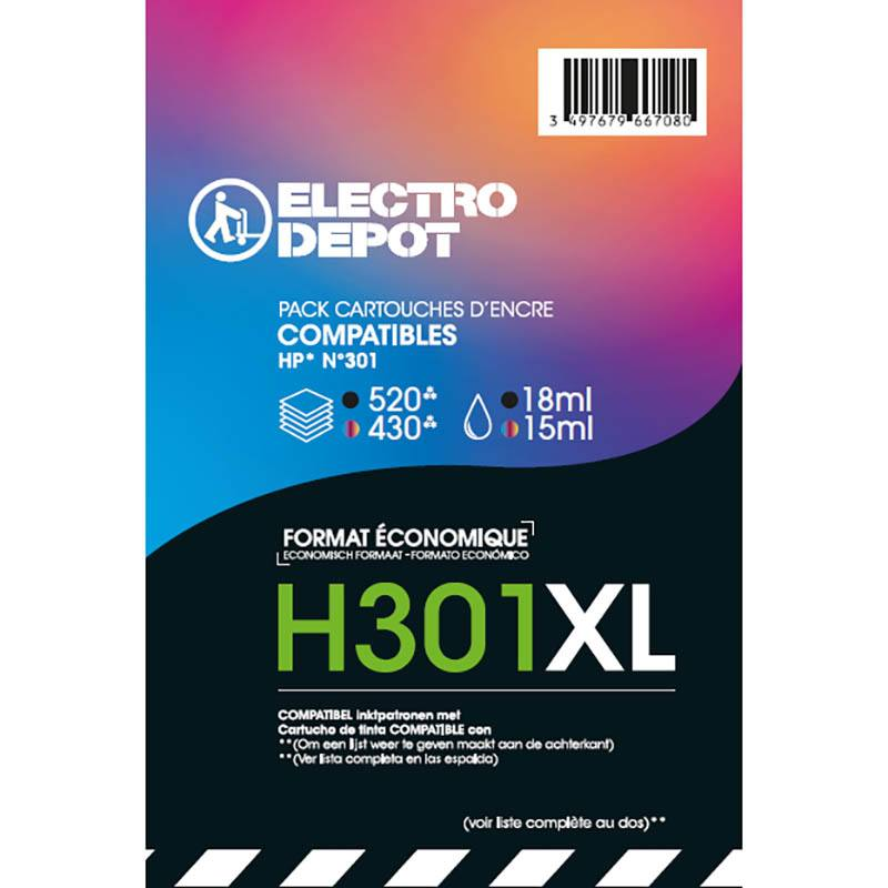 CARTOUCHE ELECTRO DÉPÔT H301 XL PACK NOIR + COULEURS (photo)