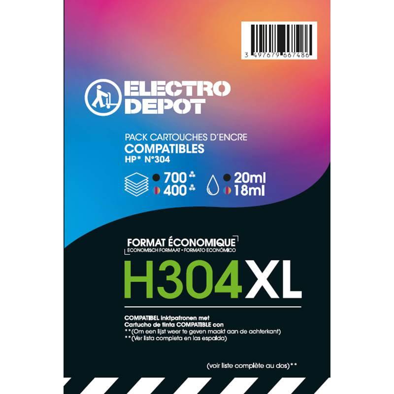 Cartouche COMPATIBLE HP ELECTRO DÉPÔT H304 XL PACK NOIR + COULEURS (photo)