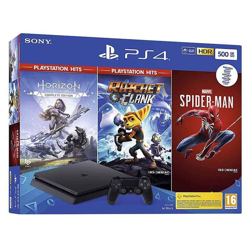 Console de jeux SONY Playstation 4 SLIM 500Go + Spiderman + Horizon Zero Dawn + Ratchet & Clank (photo)