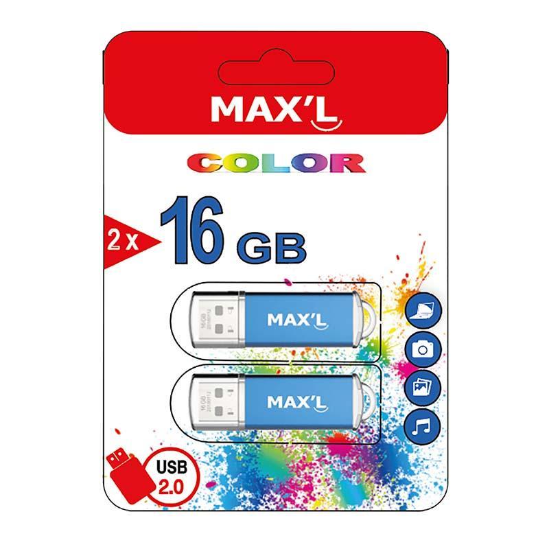 Clé Usb Maxell Pack 2 X 16go Usb2.0 Color (photo)