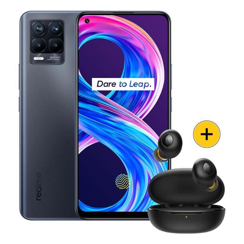 Smartphone Pack Realme 8 Pro 128go Noir + Écouteurs Buds Q