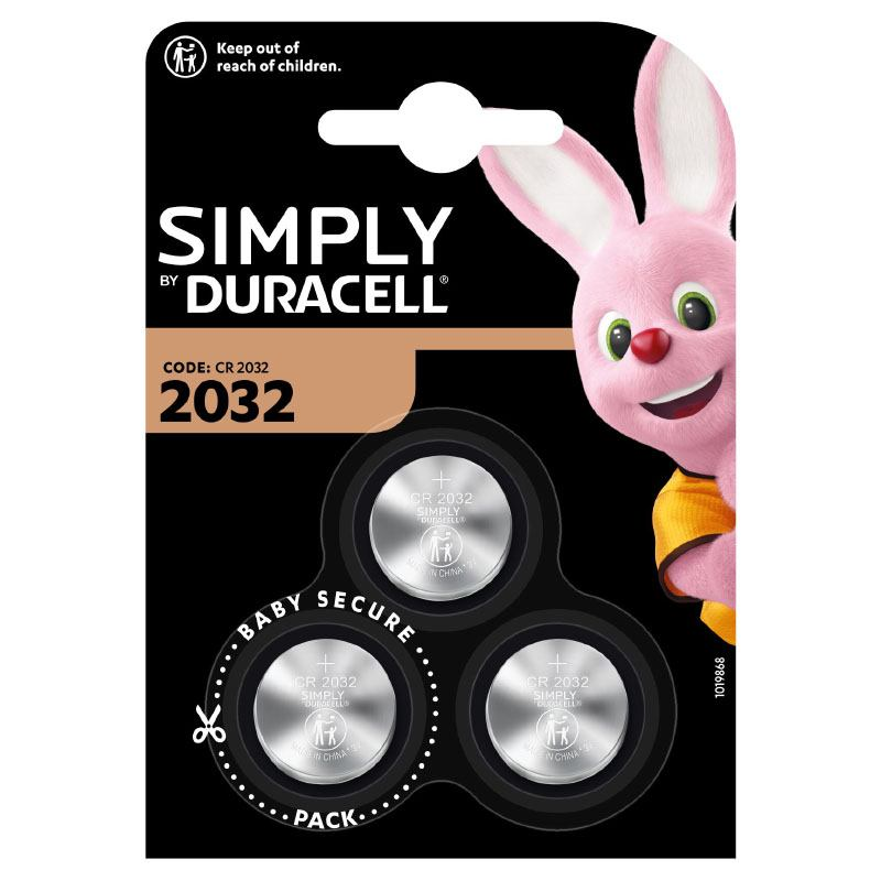 Piles Boutons Lithium Duracell Simply 2032 X3 - 3v