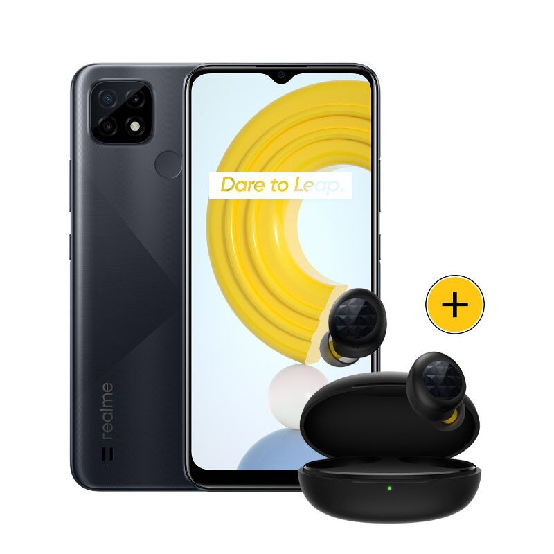 Pack Smartphone Realme C21 32go Noir + Ecouteurs Buds Q2