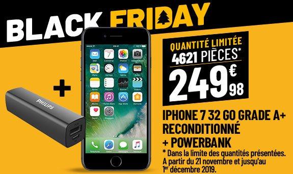APPLE iPhone 7 32 Go Black reconditionné grade A+  & PowerBank