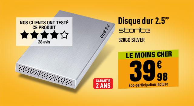 Disque dur Externe 2.5'' STORITE 320Go Silver
