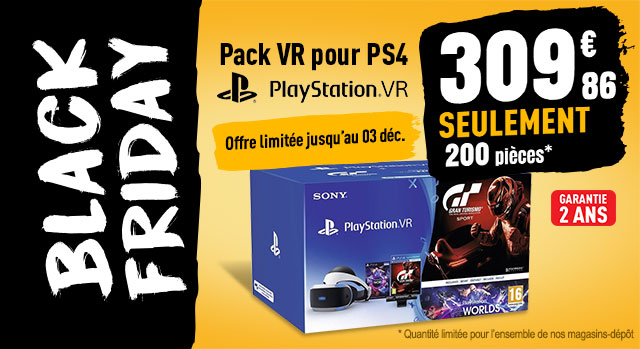 Pack VR pour PS4 ( casque Vr + caméra V2+ Gran Turismo + Vr world)