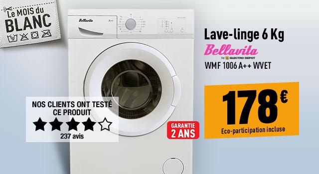 Lave-linge BELLAVITA WMF 1006 A++ WVET