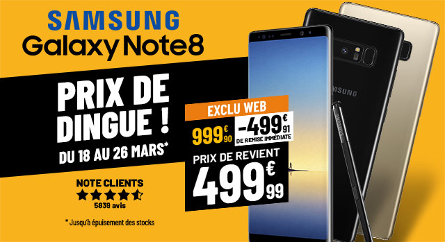 Samsung Galaxy NOTE8 Prix de Dingue