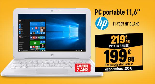 Ordinateur portable 11,6 HP 11-y005nf Blanc
