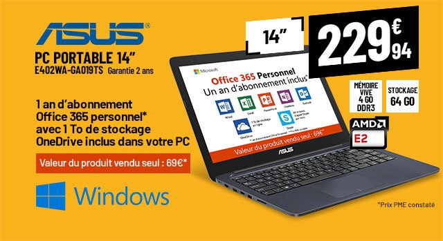 Ordinateur portable 14,1'' ASUS E402WA + Office 365 personnel un an inclus