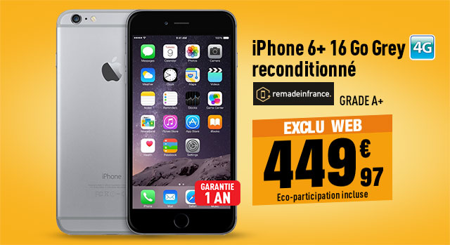 APPLE iPhone 6+ reconditionné grade A+ 16 Go grey REMADEINFRANCE