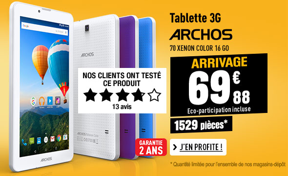 Tablette 3G ARCHOS 70 XENON COLOR 16 GO + 3 coques interchangeables