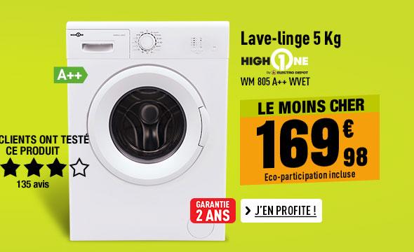 Lave-linge HIGH ONE WM 805 A++ WVET