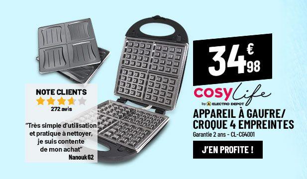Appareil à Croque/Gaufrier 4 empreintes COSYLIFE CL-CG4001