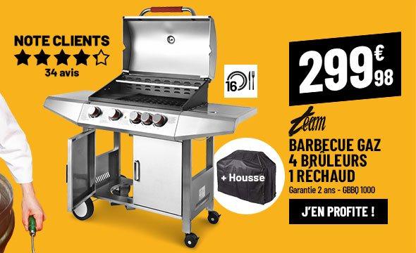 Barbecue gaz TEAM GBBQ 1000 4 brûleurs/1 réchaud + housse