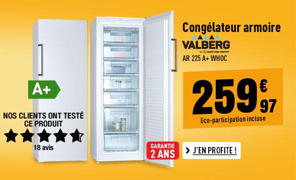 Congélateur armoire VALBERG AR 225 A+ WHOC