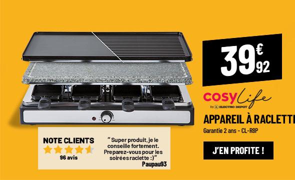 Raclette COSYLIFE CL-R8P + grill + pierre 8 personnes