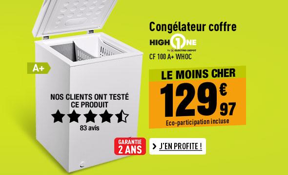 Congélateur coffre HIGH ONE CF 100 A+ WHOC