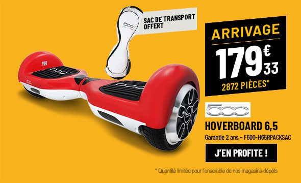 Hoverboard 6,5'' FIAT 500 rouge + housse