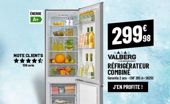 Réfrigérateur combiné VALBERG CNF 265 A+ S625C