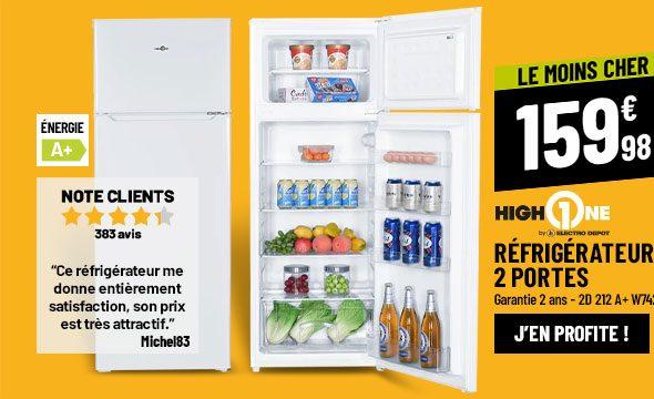 Réfrigérateur 2 portes HIGH ONE 2D 212 A+ W742C