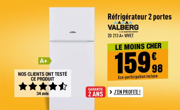 Réfrigérateur 2 portes VALBERG 2D 213 A+ WVET