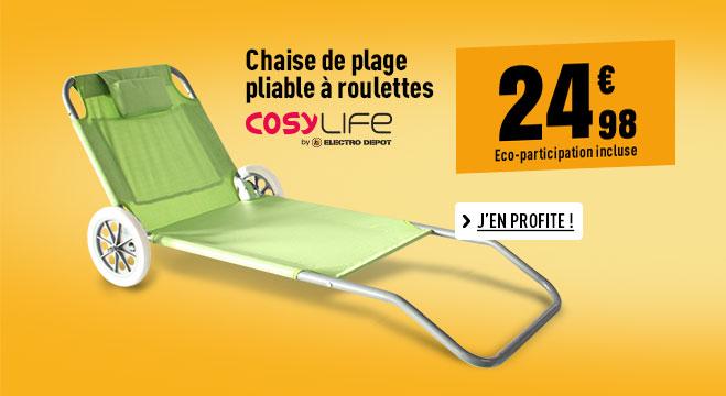 Chaise de plage pliable à roulettes