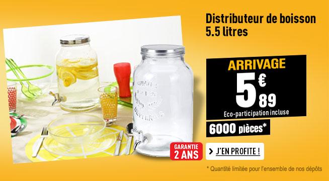 Distributeur de boisson 5.5 Litres avec robinet à visser