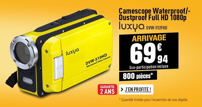 Camescope waterproof/dustproof LUXYA DVW-512FHD 1080 IPX8 jaune