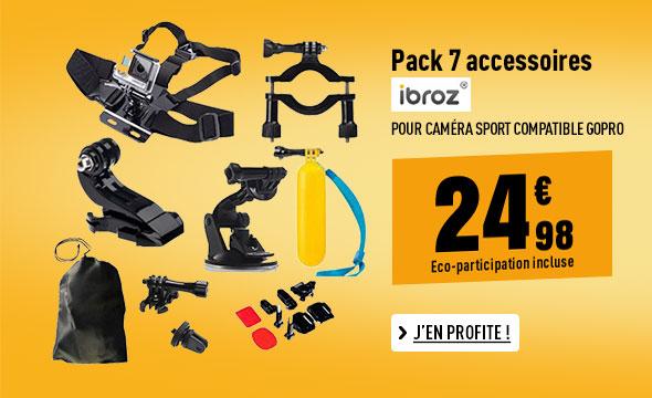 Pack 7 accessoires IBROZ pour caméra sport compatible GoPro